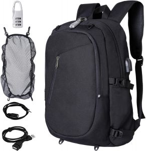 690acef3c626d Anti theft Black laptop backpack with USB charge waterproof bag