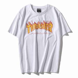 dc15725ce53b Thrasher Classical Flame White T-shirt Unisex fashion Tee Short Sleeve For  Men And Women