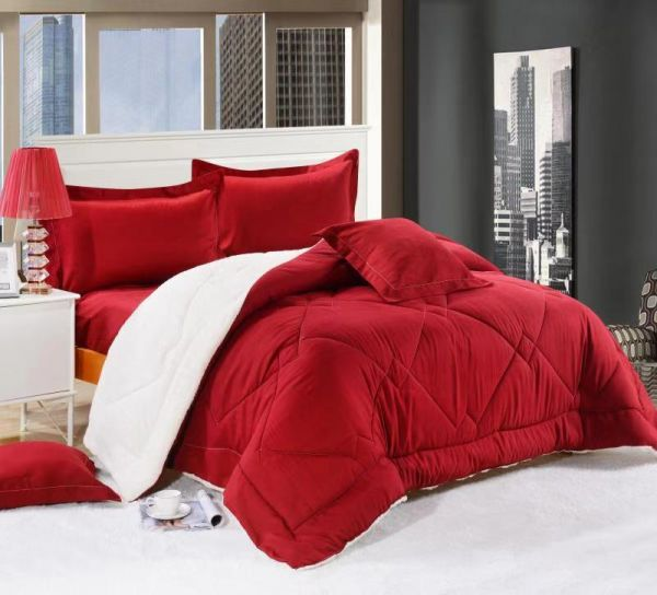 Good Night King Size Bed Comforter Set In A Bag Red Color Geometric