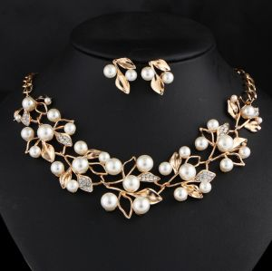 5e981f750 Wedding Necklaces Earrings Set, Choker Simulated Pearl Necklace Sets With  Stud Earring Foliage Gold Silver Chain Bridal Party Dress Engagement Jewelry  Sets