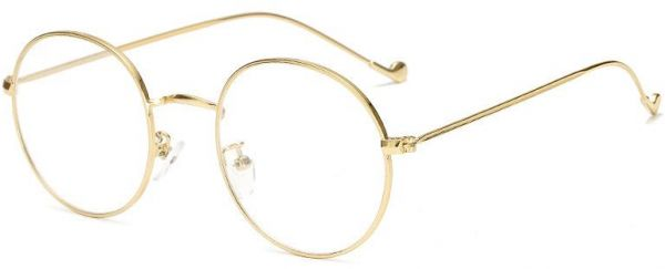 1eb72a39ad Stylish Clear Lens Women Glasses Round Thin-edged Metal Glasses ...