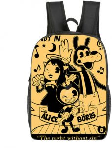 cf0168be252f Children cartoon school bag 16 inch Bendy and ink pattern machine primary  schoolbag backpack