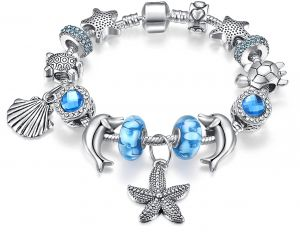 Fashion Charm Bracelet for Teen Girls and Women with Snowflakes Themed Blue  Charms df05cf00624d