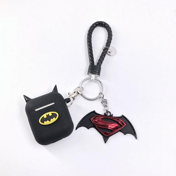 competitive price 3d7bf 14b7c Batman Apple Airpods Silicone Case With Anti-lost Holding Strap and Batman  Keychain