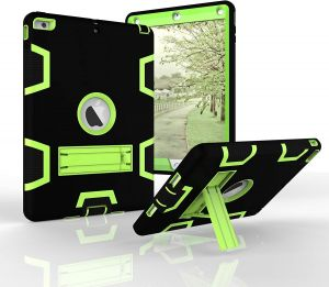 iPad 5 Case Three Layers PC Silicon Armor Defender Heavy Duty Shock-Absorption Rugged Hybrid Full Body Protective Case with Kickstand for Apple iPad ...