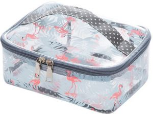 3228ef8b41 Toiletry Bag Multifunction Makeup Cosmetic Bags Organizer Portable Travel  Cube Case for Women Large Make-up Brushes Pouch Blue Flamingo
