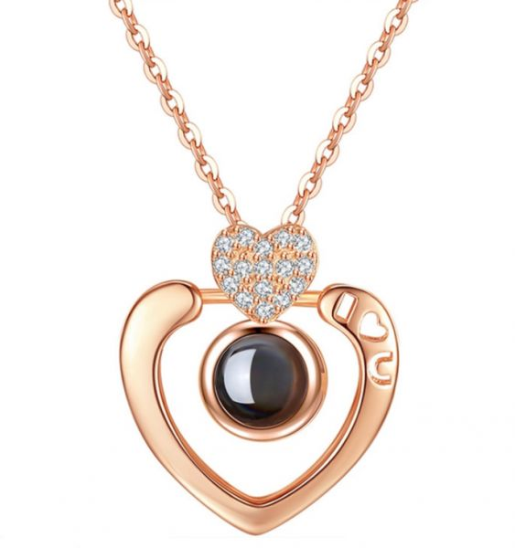 311730a390b4b Rose Gold 100 languages I love you Projection Pendant Necklace Romantic  Love Memory Wedding Necklace