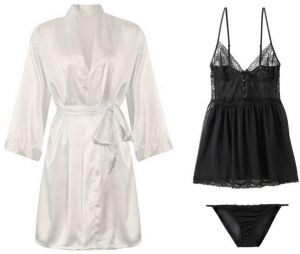 IngerT Bridal Sleepwear Set Slips Silky Long Sleeves Robe with Lace Dress  and Pantie for Women 57e2288a6