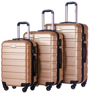 491076218217 Passenger Luggage Trolly Bags Set 3 pcs - Golden