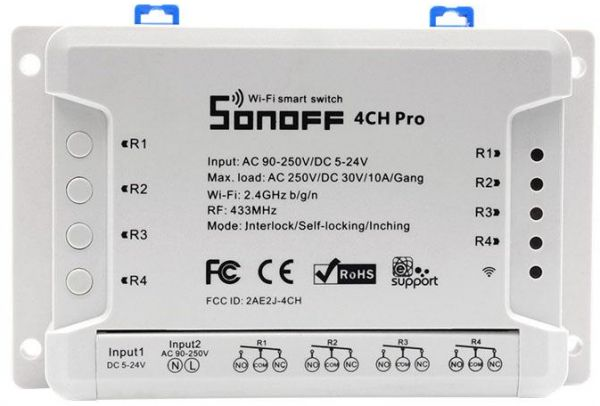 Sonoff 4CH Pro R2 Smart Wifi/RF Switch 4 Gang, Works With Amazon Alexa, Google Assistant