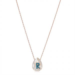 5b4fffc983ad Alwan Silver (Rose Gold Plated) Necklace with Letter R on Mother of Pearl  for Women - EE5372NRTR