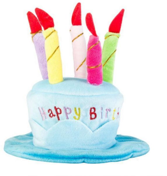 Dog Birthday Hat Cake Candles Design Party Costume Accessory Headwear BLUE One Size Fits Most