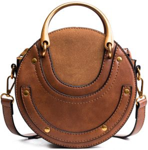 Women Tote Bag Fashion Circular Leather Bags Retro Metal Ring Handbag For  Girl Small Round Lady Shoulder Messenger Bags-brown tt01 e56404120647d