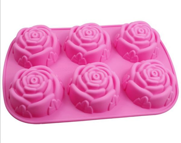 DIY Baking Mold 3D Silicone Mold Rose Shape Mould For Chocolate, Candy, Soap, Ice, Flowers Cake decorating tools Pink