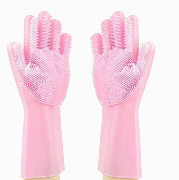 Magic Silicone Cleaning Gloves Dishwashing Scrubber Reusable Dish Wash Scrubbing Sponge Gloves with Bristles
