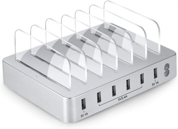 6-Port USB Charging Station Dock,Fast Charge Docking Station for Multiple Devices - Multi Device Charger Organizer - Compatible with Apple iPad iPhone and Android Cell Phone and Tablet-Sliver