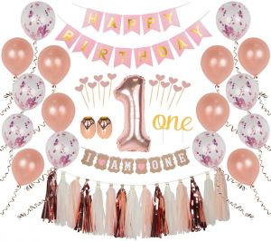 First Birthday Girl Decorations 1st Smash Cake Fun Party Set Rose Gold Pink Decor Topper Confetti Balloons Bday Bunting Tassels Ribbon Heart Sticks
