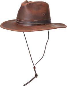 2a85d3c8fb965 Henschel Full Grain Leather Aussie with snap-Up Brim