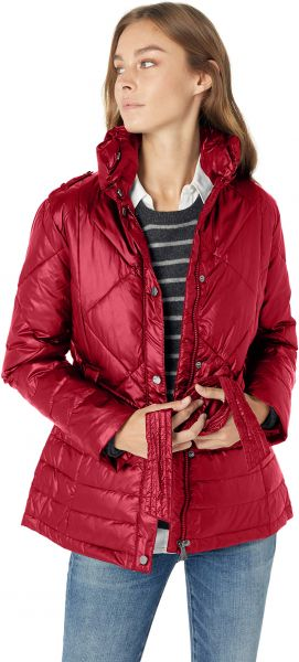 154c01142c9 Big Chill Women s Plus Size Belted Down Blend Puffer Jacket