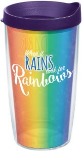 Clear Tervis 1229385 Hawaii Rainbow Warriors College Pride Tumbler with Wrap and Hunter Green Lid 24oz
