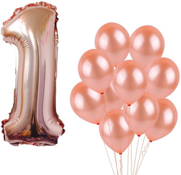1 Number Balloons Rose Gold