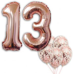 13 Number Balloons Rose Gold Birthday Decorations