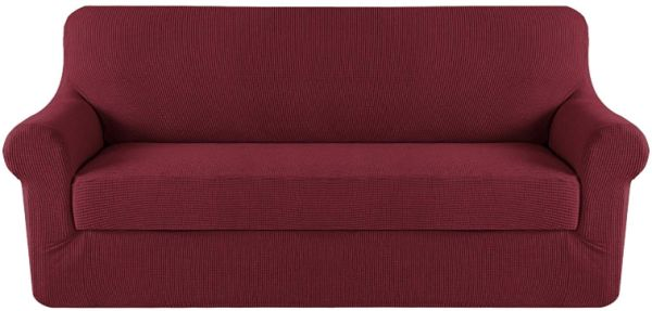 Slipcover Sofa Covers Red For 3 Seat Couch Lounge Knit Spandex Stretch Slipcovers 170x190cm Burgundy Souq Uae