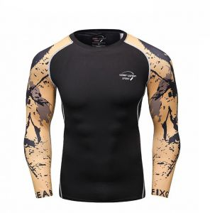 Winter Running fitness Clothes Men Outdoor Moisture Wicking Quick-drying Sports Long-sleeved Tights Compression Clothing,Size:M