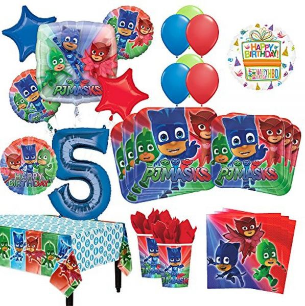 Mayflower Products PJ Masks 5th Birthday Party Supplies 8 Guest Kit