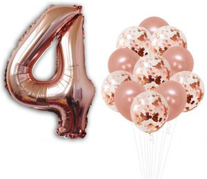 Rose Gold 4th Birthday Decorations Pack Of 21
