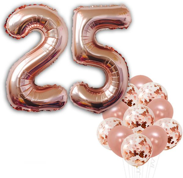 Rose Gold 25th Birthday Decorations Pack Of 22