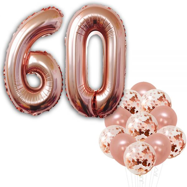 Rose Gold 60th Birthday Decorations Pack Of 22