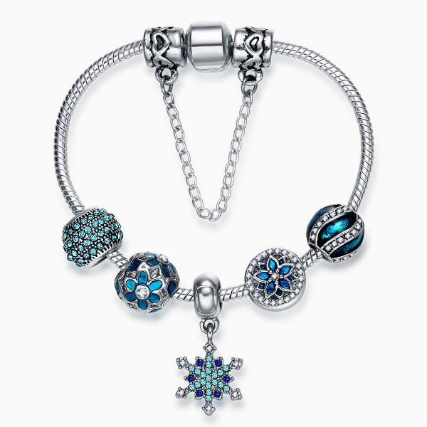 71958cc81978f Pandora Style Silver Plated Charm Bracelet Snowflake Pendant Blue Crystal  Beads Chrismas Gift for Girls 18cm