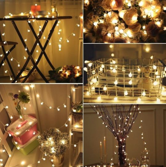 Zy 5M 50LEDs Round Ball Fairy Light String Lights Starry Home Party Wedding Outdoor Garden Indoor Festival Decorative Lightswarm WhiteBattery