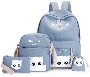 Women s Backpack Set 4Pcs Canvas Material Cartoon Cat Pattern Casual Bags  Durable Breathable Travel Portable Multi-Functional Large Capacity Schoolbag be5d5393231f7