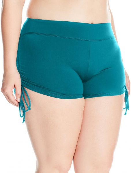 d715fc5f9 BEACH HOUSE WOMAN Women s Plus-Size Solid Boy Short Swimsuit Bottom with  Adjustable Side Ties