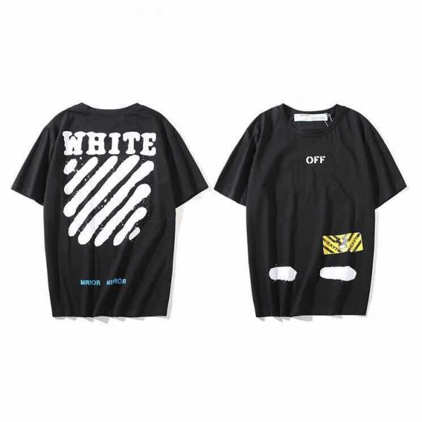 75ce66284503 Off-white Stripe Black T-shirt Fashion Tee Unisex Short Sleeve For Men and  Women