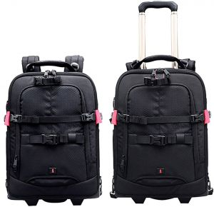 23ce1d5dfb1 COOPIC BP60 2-in-1 Rolling Camera Trolley Case - Anti-Shock Detachable  Padded Compartment Hidden Pull Bar Durable Waterproof for Camera Tripod  Flash Light ...