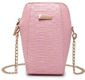 65ef846e7fedb Pink Croc Pattern Shoulder Bag For Women Phone Case Style Chain Crossbody  Bag Ladies HandBag Small Size