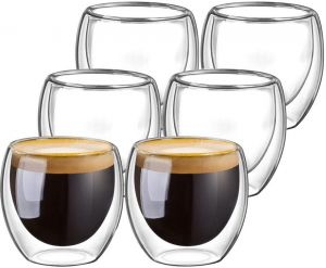 Set of 6 Double Walled Coffee Glasses 80ml
