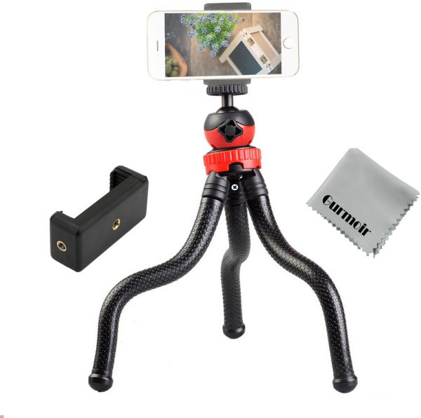 pretty nice beb6a ec5e8 Gurmoir 12 Inch Flexible Tripod For iPhone Series, Digital Camera Gopro 7 ,  2in1 Tripod Stand with Cell Phone holder for iPhone 8 7 6 6s, Android ...