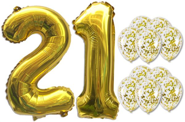 21 Number BalloonsGold