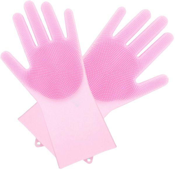 Pink Kitchen Silicone Cleaning Gloves Magic Silicone Dish Washing Gloves