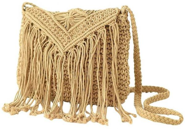 Fringed Beach Bag For Women Crochet Braid Tassels Shoulder Bags