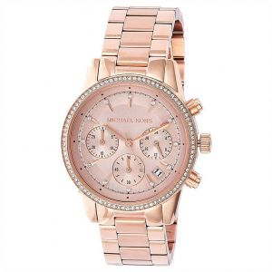 a21a838ed77 Michael Kors Chronograph Women s Rose Gold Dial Stainless Steel Band Watch  - MK6357
