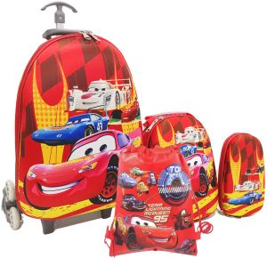 a5d99c0634 Kids School bag trolley Rolling travel bag 95 CAR with drawstring Bag set  of 4 17inch 3-12years olds