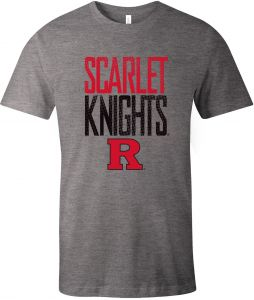 new product 48aed aee62 Image One NCAA Rutgers Scarlet Knights Adult Unisex NCAA Dotted Phrase  Short sleeve Triblend T-Shirt,Large,Grey