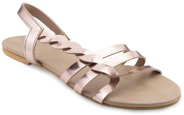 213cfbaf9 Monrow Rose Gold Flat Sandals For Women