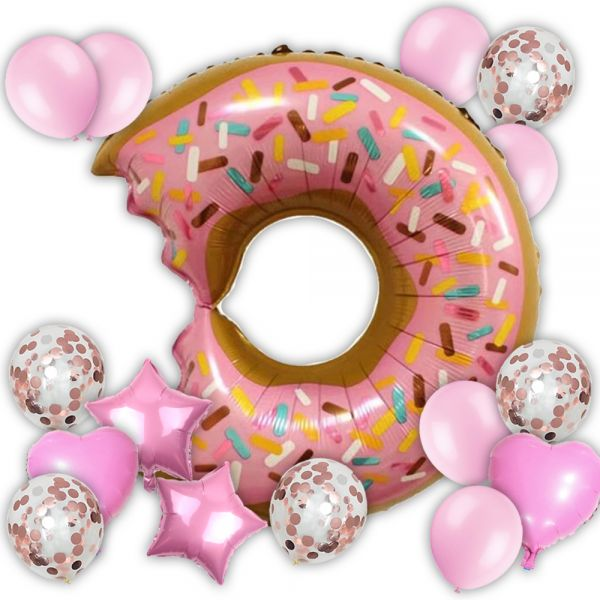20pcs Beautiful Pink Donut Set Balloon Decoration Or Party