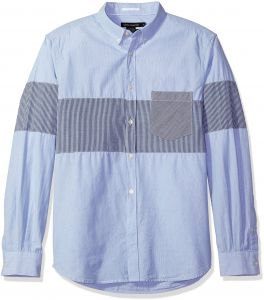 9893d022e0 French Connection Men's Long Sleeve Printed Regular Fit Button Down Shirt, Marine  Blue City Stripe, XL